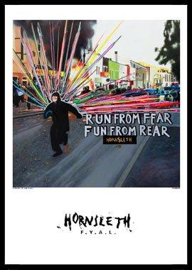 Run from fear af Hornsleth, Print i glas og ramme, 50x70 cm